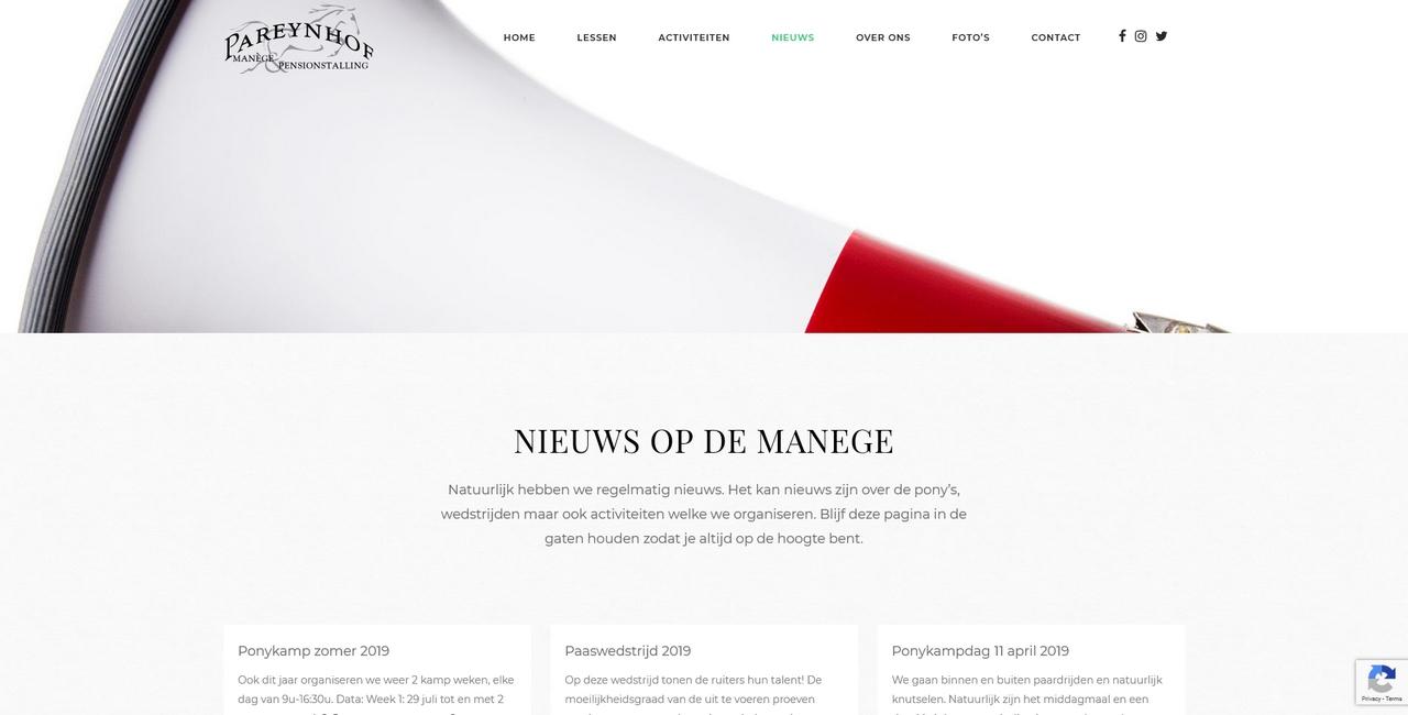 Manege Pareynhof - nieuws